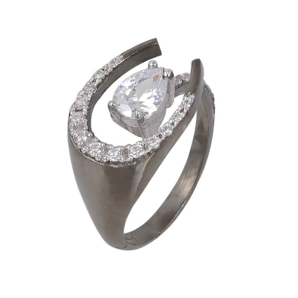 Ασημένιο Δαχτυλίδι Πέταλο με Λευκά Ζιργκόν